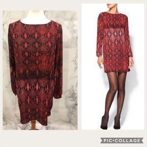 BB Dakota Shift Burgundy Snake Print Dress